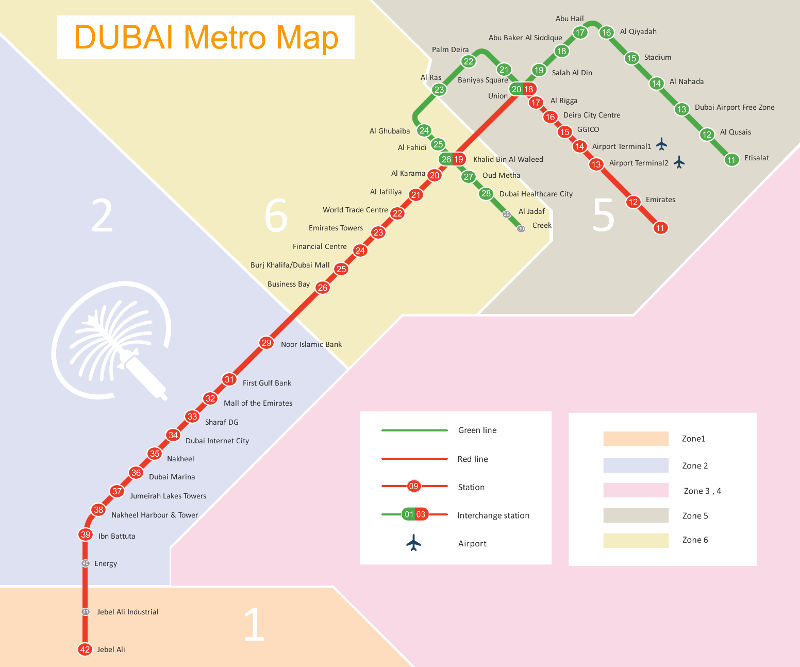plan metro dubaï